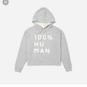 Everlane 100% Human graphic hoodie xs grey gray